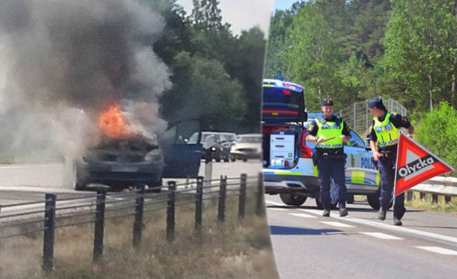 İsveç'te araç yolda alev aldı korku dolu anlar yaşandı