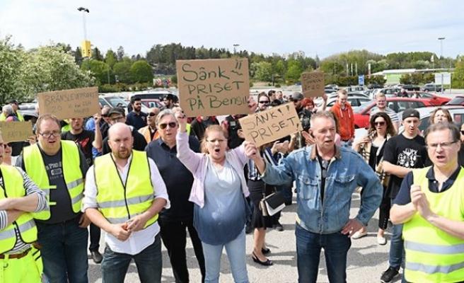 İsveç'te benzin protestosu
