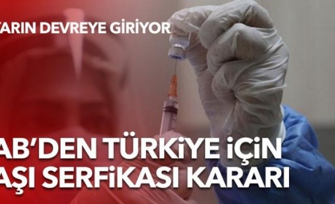 AB, Türkiye'nin aşı sertifikasını tanıma kararı aldı