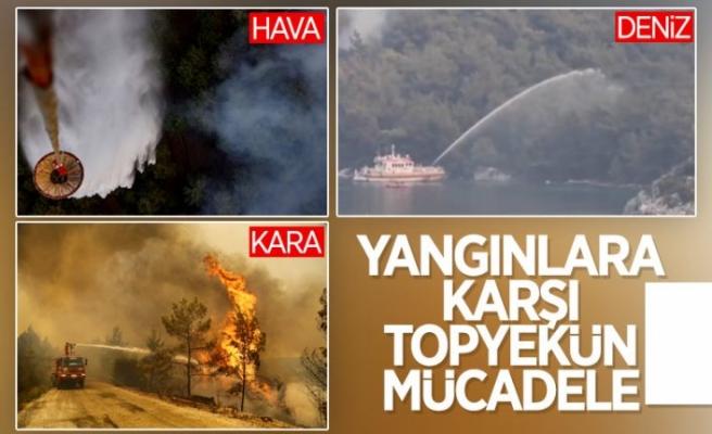 Muğla'daki yangınlara denizden gemilerle müdahale edildi