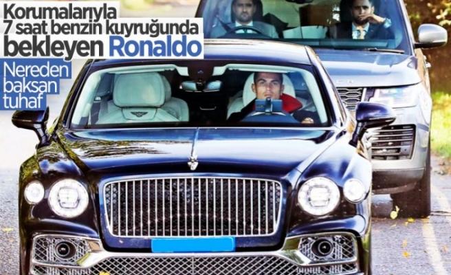 Cristiano Ronaldo İngiltere'de benzin kuyruğunda