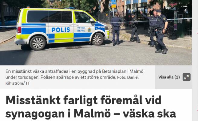 İsveç'te sinagog yakınında içinde tehlikeli madde bulunan çanta bulundu