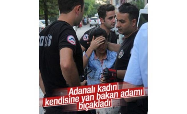 Adanalı kadın kendisine yan bakan adamı bıçakladı