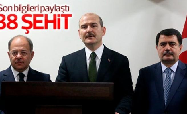 Bakan Süleyman Soylu: 38 şehidimiz var