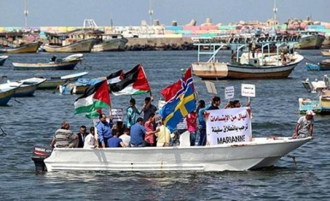 Gazze'de İsveç ve Norveçli Aktivistlere Destek Gösterisi
