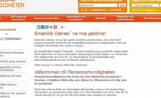 İsveç'te çalışanlara emeklilik için Türkçe hizmet...