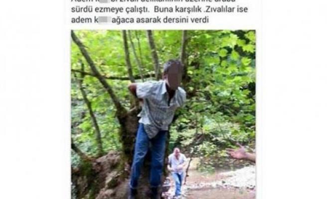 Kayınpederini kaçırıp dövdü, ağaca bağlı fotoğrafını paylaştı