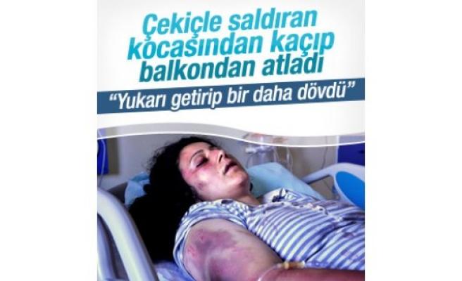 Koca dayağından  kaçan kadın balkondan atladı