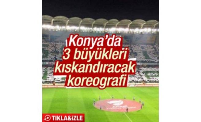 Konyaspor taraftarından müthiş koreografi