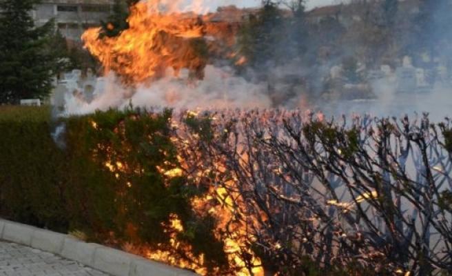 KULU'da mezarlık yangını korkuttu
