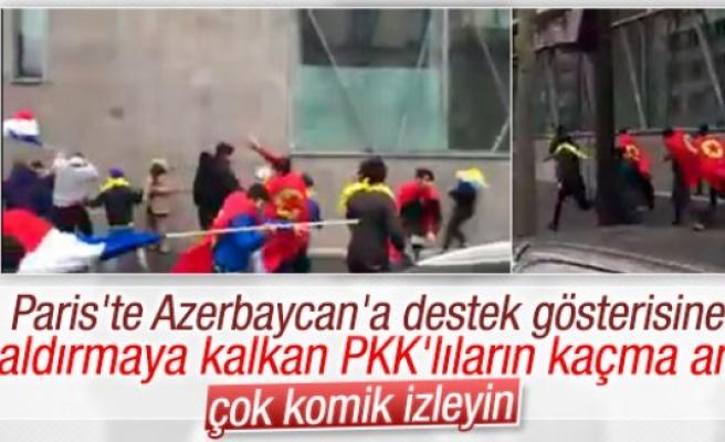Paris'te Azerilere saldıran PKK'lıların kaçtığı anlar