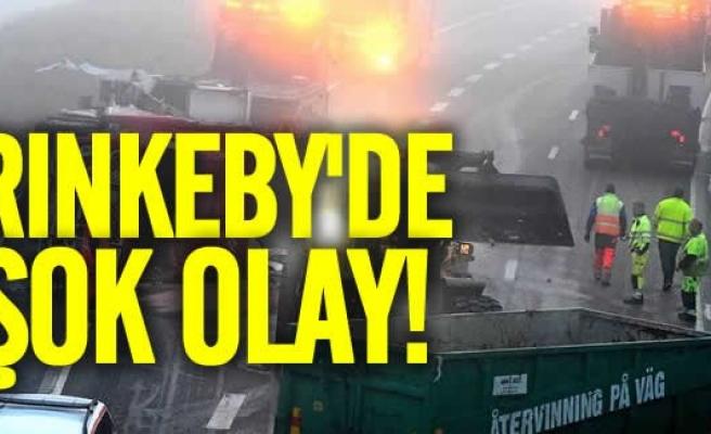 Rinkeby'de kamyon devrildi ne var ne yoksa yola savruldu
