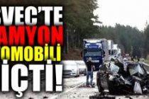 İsveç'te kamyon otomobili biçti!
