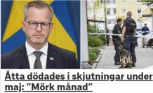 İsveç'te Mayıs ayında 34 kişi silahla vurulurken, 8 kişi öldü