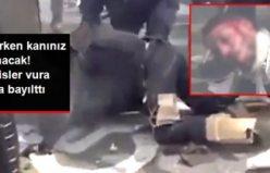 Dehşet görüntüler! Polisler, göstericiyi döverek bayılttı