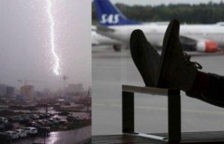 Aşırı yağış Arlanda'da uçuşları durdurdu