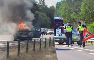 İsveç'te araç yolda alev aldı korku dolu...