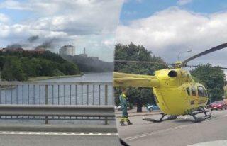 Lidingö'de bir kişi vuruldu Helikopter araç...