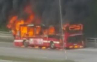Stockholm'de otobüs alev alev yandı