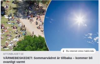 İsveç'e yaz sıcakları geliyor