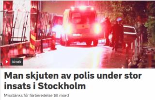 Stockholm'de polis bir şüpheliyi vurdu