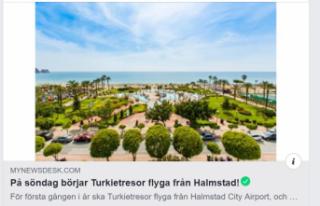 Halmstad'dan Antalya'ya direk uçuşlar...