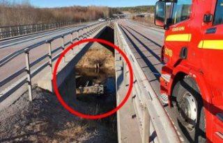 İsveç'te kontrolden çıkan araç köprüden...