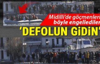 Midilli'de göçmenleri engellemek için toplanan...