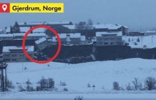 Norveç'teki toprak kaymasında evlerin çöküşü...