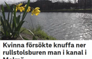 İsveç'te engelli bir kişiyi su kanalına atmak...