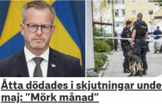 İsveç'te Mayıs ayında 34 kişi silahla vurulurken,...