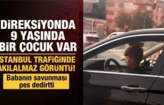 İstanbul trafiğinde akılalmaz görüntü! 9 yaşındaki...