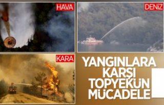 Muğla'daki yangınlara denizden gemilerle müdahale...