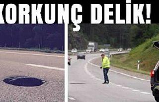 İsveç otoyolunda tehlikeli delik