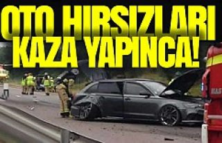 İsveç'te araba hırsızları kaza yapınca