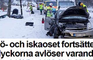 İsveç'te 6 saatte 43 kaza meydana geldi...VİDEO
