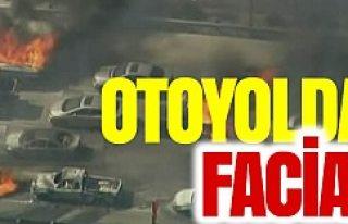 Otoyolda facia: Araçlar cayır cayır yandı