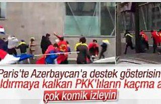 Paris'te Azerilere saldıran PKK'lıların...