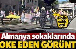 PKK'lılar Alman polisi eşliğinde yürüyüş...
