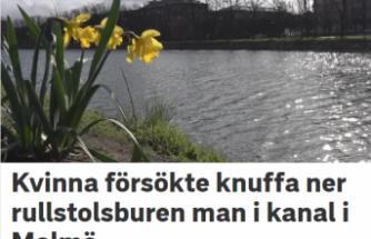İsveç'te engelli bir kişiyi su kanalına atmak istedi