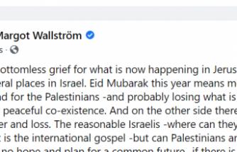 """Eski İsveç Dışişleri Bakanı Wallström'den dikkat çeken mesaj: 'Ramazan Bayramı'nda Filistinliler ölülerinin yasını tutuyor"""""""