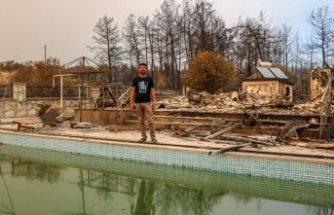 Alevlerin ortasında kalan aile havuza girip kurtuldu