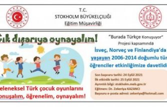 """İsveç'te """"Geleneksel Türk çocuk oyunlarını konuşalım, öğrenelim, oynayalım!"""" Etkinlikleri Başlıyor"""