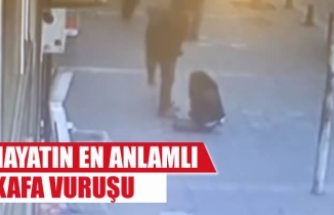 Karısını döven adama böyle uçan kafa attı