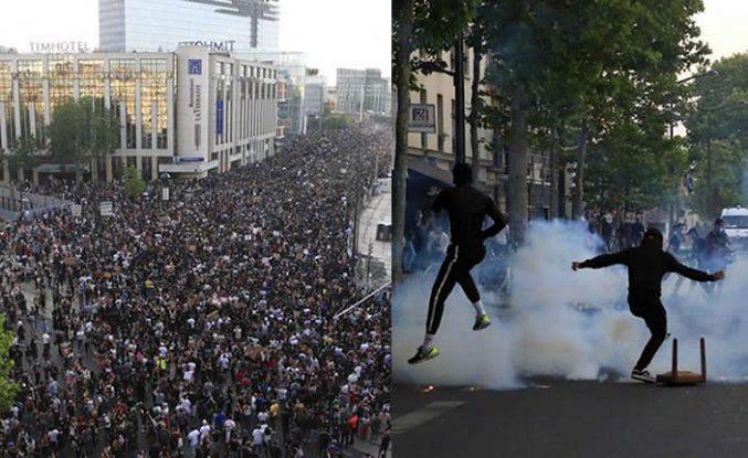 Paris'te yasağa rağmen 20 bin kişi toplandı! Gösteri sırasında gerginlik
