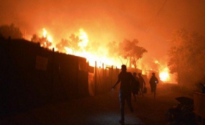 Yunanistan'da karantinaya alınan mülteci kampında yangın!