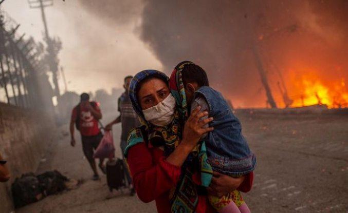 Yunanistan'ın en büyük mülteci kampında yeniden yangın çıktı