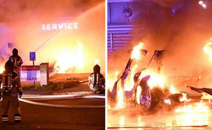 Tesla'da çıkan yangında yedi elektrikli araç yandı