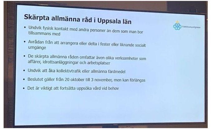 Uppsala bölgesinde artan vakalar üzerine kısıtlamalar getirildi