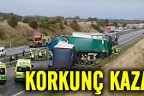 İsveç'te korkunç kaza! 3 TIR birbirine girdi